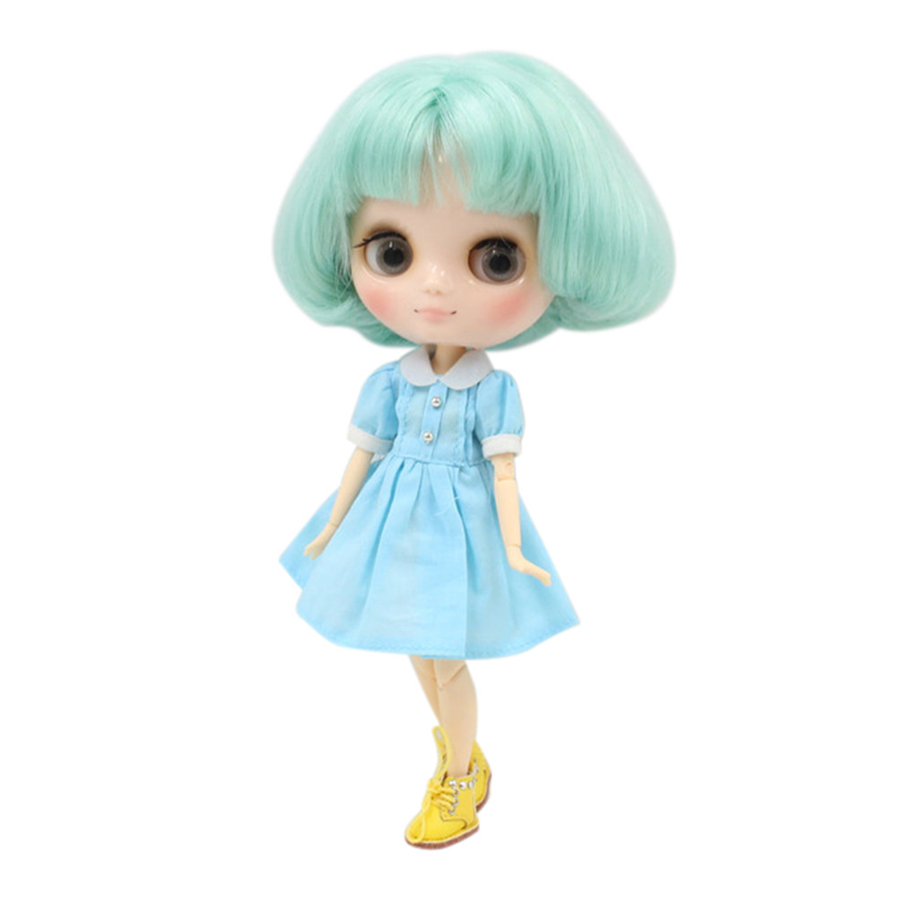 Middie blyth doll BL4006 Light green short hair with bangs 20cm joint body gray eye middle