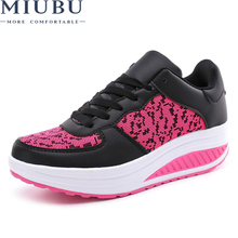 MIUBU 2018 New Arrival Breathable Shoes Woman Fashion Waterproof Wedges Platform Women Sneakers Tenis Feminin