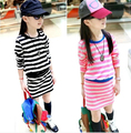 5-910-11-12-13Y Childrens clothing female child 2016 spring stripe vintage princess dress one piece cotton teenage girls dresses