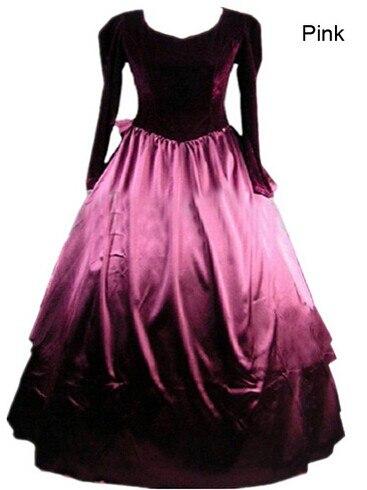 (GT027) Costumes victoriens longue princesse gothique fête des femmes Halloween manches complètes personnalisé