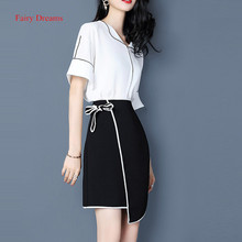 Fairy Dreams 2 Piece Set Women Costume White Shirt Suits The Feminine Tops And Black Skirts With Bow 2017 Summer Fashion Clothes
