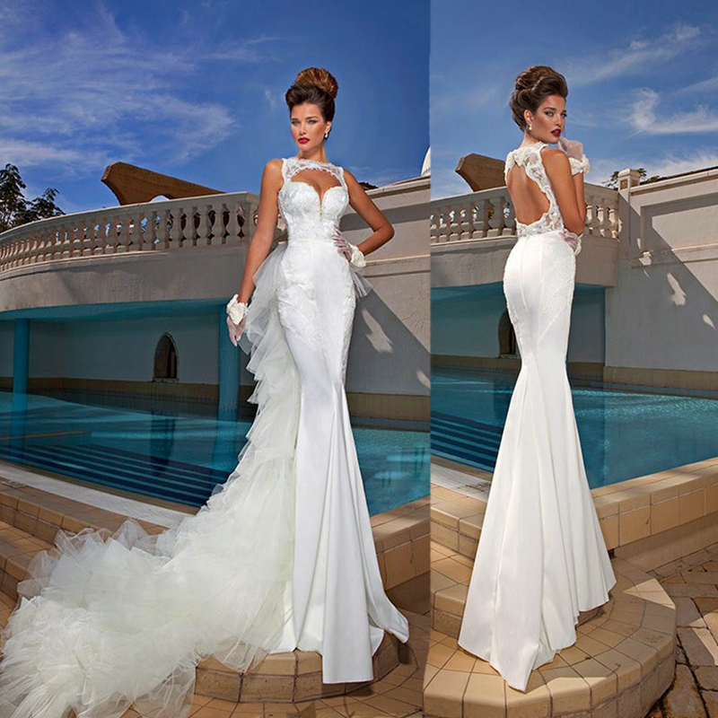 Latest summer sexy 2015 mermaid wedding dresses sleeveless v neck latest summer sexy 2015 mermaid wedding dresses sleeveless v neck backless beads dresses for women convertible removable train in wedding dresses from junglespirit Images