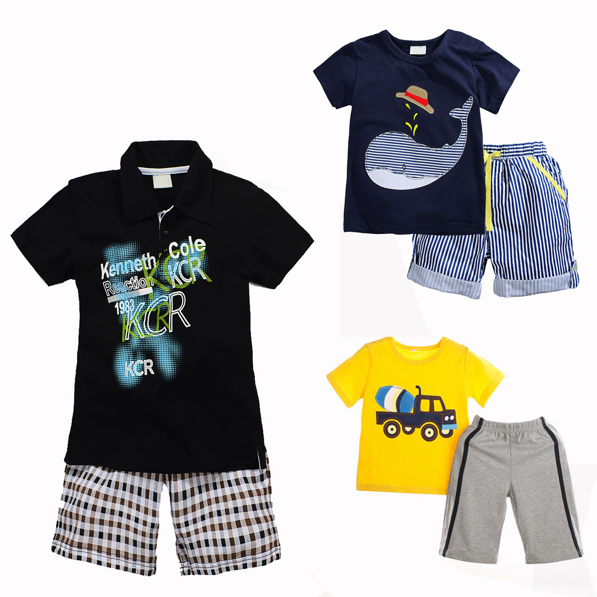 New 2017 Kids Boy Summer Set Cotton Shorts + T Shirt Children Boys Clothing Baby Boy T Shirt Set Sports Suit Child Kids Clothes