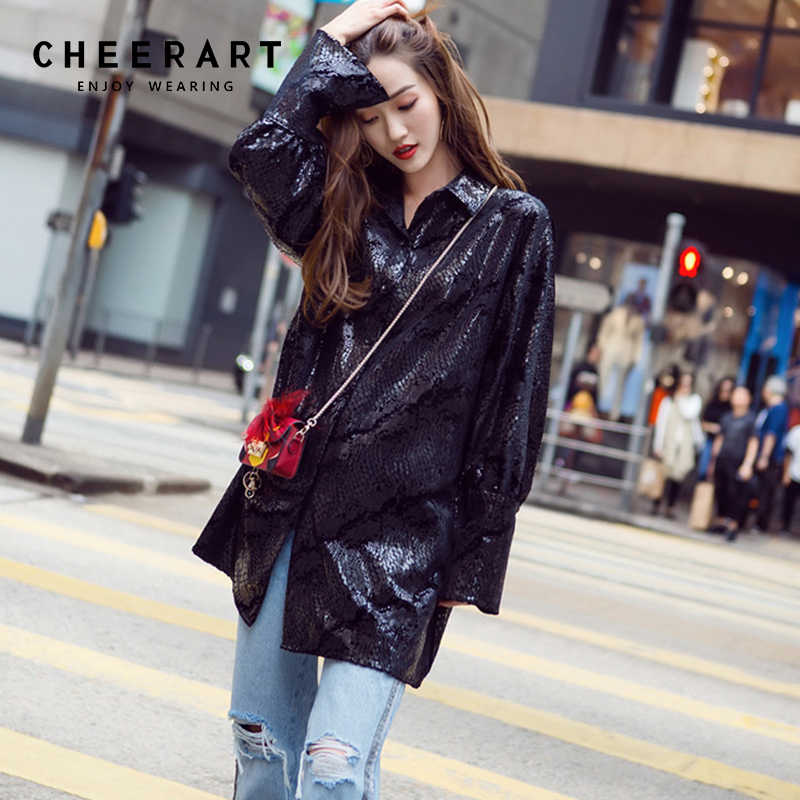 Cheerart Snake Print Glitter Velvet Womens Tops And Blouses Black Long Sleeve Loose Shirt Women Korean Fashion Clothing 2018
