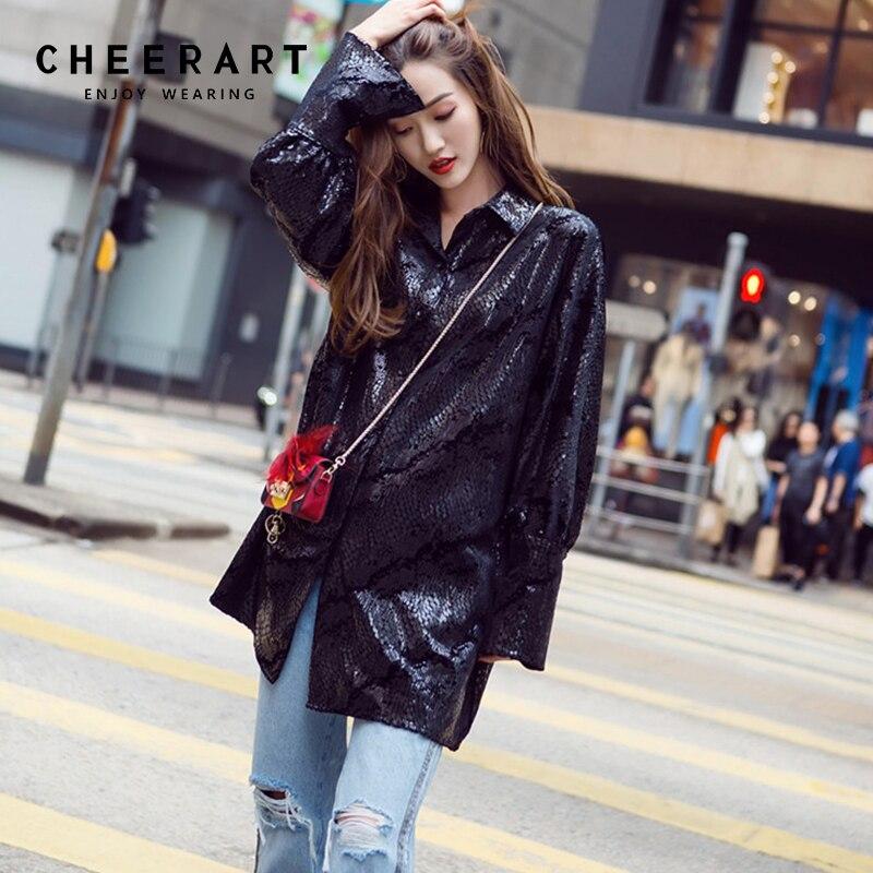 Cheerart serpent imprimé paillettes velours femmes hauts et chemisiers noir à manches longues lâche chemise femmes mode coréenne vêtements 2018