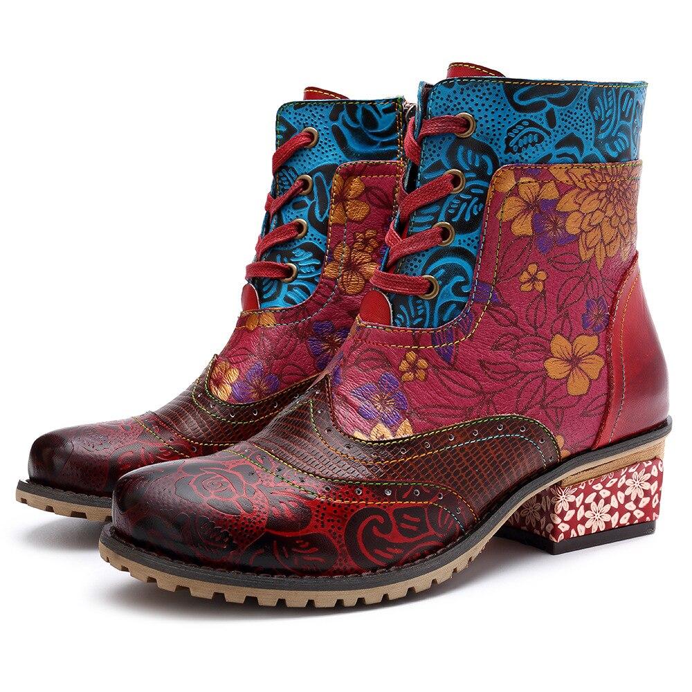 Johnature/Винтажные женские ботильоны из натуральной кожи, новинка 2019 года, весенне-осенняя женская обувь на шнуровке, женские ботинки с цветочн...
