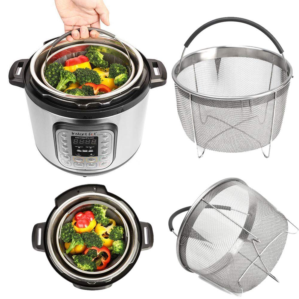 Perfect for Steaming Veg Steamer Basket for 6 or 8 QT Instant Pot//Pressure Cooker Accessories Sturdy Stainless Steel Strainer Steamer Insert with Premium Silicone Handle Meats and Eggs