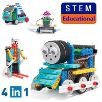 RC Robot Toys 4 In 1 170Pcs DIY Assembled Building Blocks Train Fire Truck Remote Control Toy Children STEM Educational Toy Gift