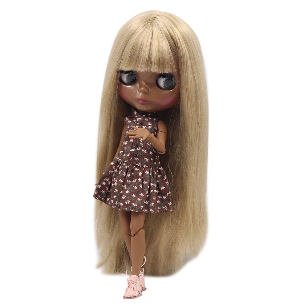 Blyth nude doll SUPER BLACK Darkest skin tone 30cmWild gold long straight hair JOINT body fortune