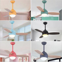 Lovely Colorful Country Wooden Leaf Iron Led Ceiling Fan with Remote Control for Bedroom Children's Room Dining Room 2203