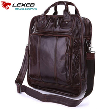 LEXEB Multi-functional Cow Leather Tote Briefcases For Men, Business Messenger Bag Fit 15″ Laptop, Man Office Bag, Coffee