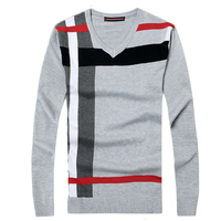 2016 New Autumn Fashion Brand Casual Sweater V Neck Striped Slim Fit Knitting Mens Sweaters And