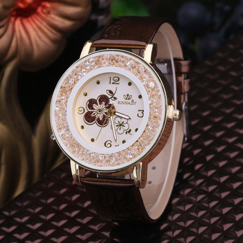 Watches Woman Rhinestone Rose Pattern Quartz Wristwatches Luxury Leather Bracelet Simple Relogio Feminino Watch 18MAR28