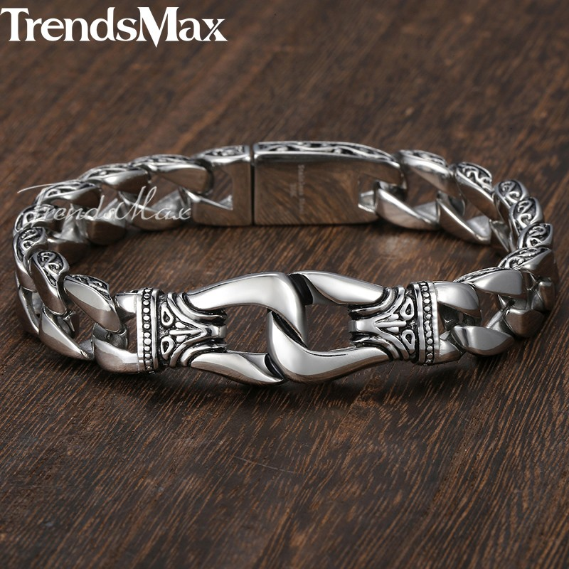 Men's Bracelet 316L Stainless Steel Curb Cuban Link Bracelet Totem Knot Charm Wristband Fashion Gift Jewelry Dropshipping HB10 4
