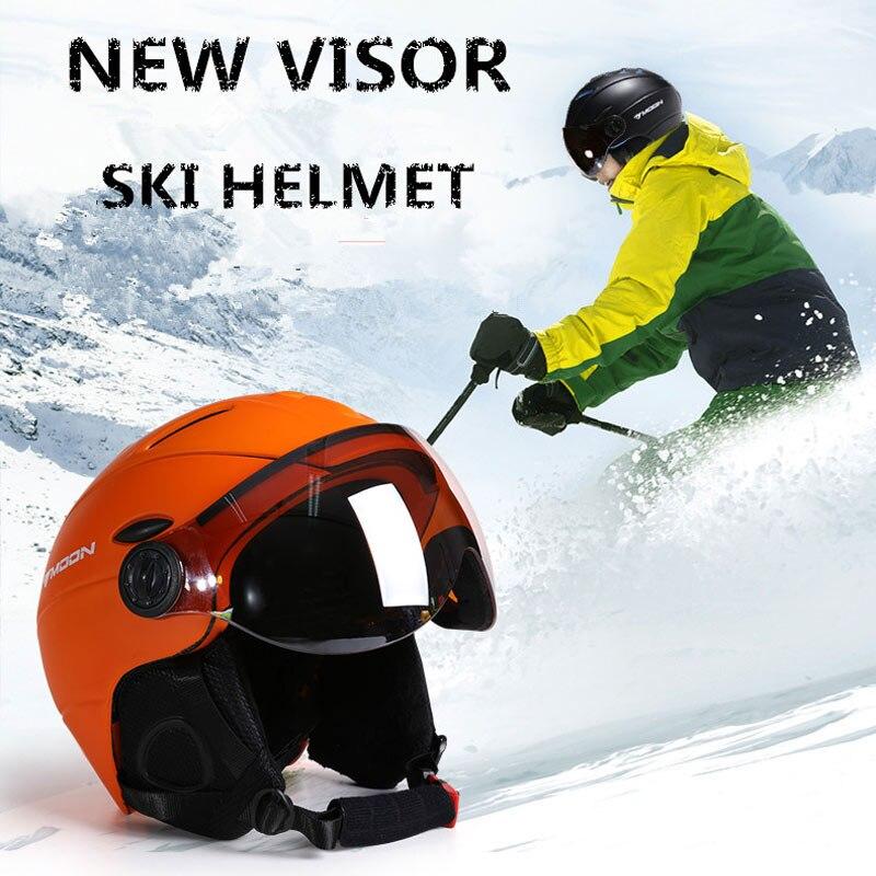 MOON Профессиональный полузакрытый лыжный шлем цельно Формованный спортивный мужской женский Снежный Лыжный Сноуборд шлемы с защитными очк... - 2