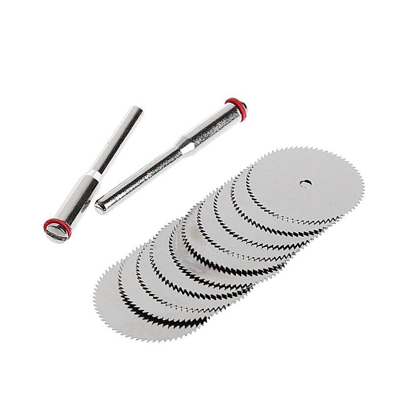 10 TEILE/SATZ Holz Sägeblatt Disc + 2 X Stange Dremel Rotary Schneiden Werkzeug 10x25mm Tropfen Verschiffen Unterstützung