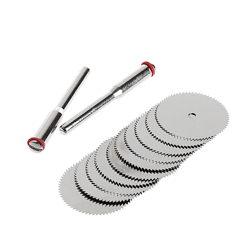 10PCS/SET Wood Saw Blade Disc + 2 X Rod Dremel Rotary Cutting Tool  10 X 25mm Drop Shipping Support