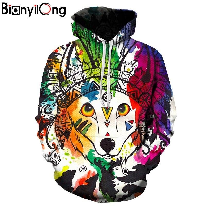 BIANYILONG New Fashion queen of the fox Hoodie Women/men Printed Coat 3d Sweatshirt Outerwear Basicswear Graphic Hoodies hoodie