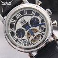 Marca Jaragar homens Tourbillon relógios mecânicos automáticos dos homens de moda relógios com pulseira de couro preto auto data relógios de pulso masculinos