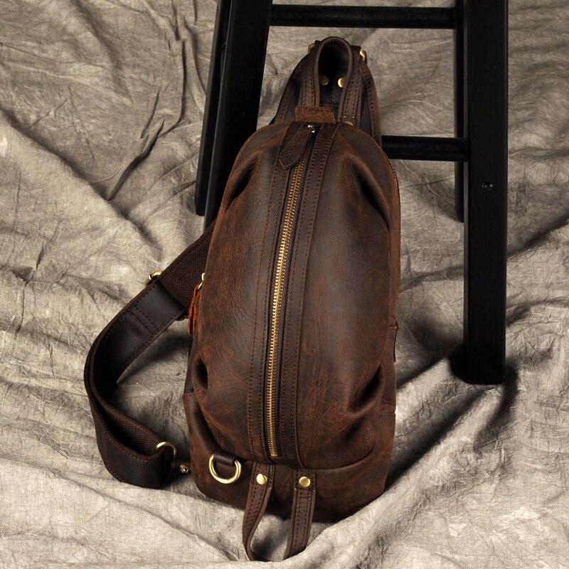 Brand Men Genuine Leather Messenger Shoulder Bag Vintage Handmade Crossbody Bag Male Large Capacity Chest Bag