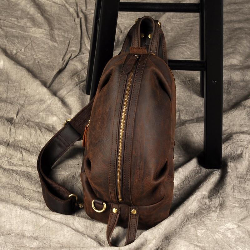 Brand Men Genuine Leather Messenger Shoulder Bag Vintage Handmade Crossbody Bag Male Large Capacity Chest Bag Pack Z1921-in Crossbody Bags from Luggage & Bags    1