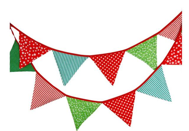 12 flags 3 3m cute cotton fabric banners personality wedding bunting