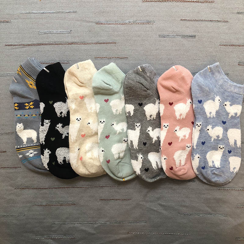 Adult Size Short Ankle Invisible Tiny Alpacas Love Hearts Socks Farm Zoo Animal Llama like Fluffy Sheep Comfortable Cozy Cotton