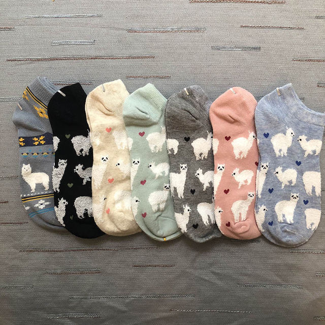 15e0e081c Adult Size Short Ankle Invisible Tiny Alpacas Love Hearts Socks Farm Zoo  Animal Llama like Fluffy Sheep Comfortable Cozy Cotton