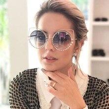 Luxury Rhinestone Cateye Sunglasses For Women 2019 Brand Designer Round Mirror Sun Glasses Oversized Shades Female Eyewear