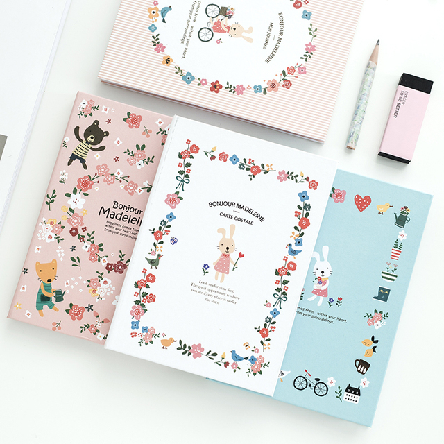 K&KBOOK Cute Notebook A6 Paper Cartoon Rabbit Hardcover Notebooks ...