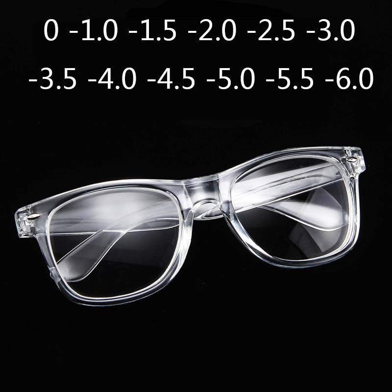 Finished Myopia Glasses Transparent White Plastic Frames 2140 Diopters Glasses 0 -1 -1.5 -2 -2.5 -3 -3.5 -4 -4.5 -5.0 -5.5 -6.0