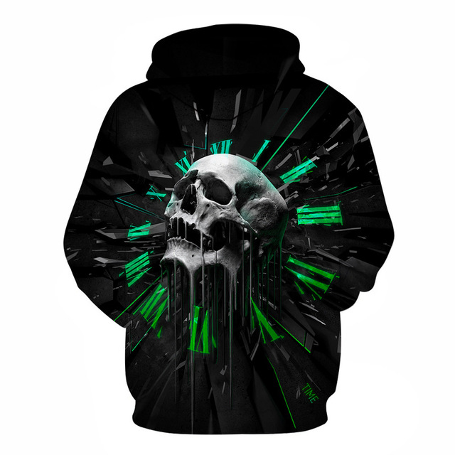 2017 Winter Hip Hop Skull Hoodie Sweatshirts Women Men Long Sleeve 3D Print Tracksuit Unisex Black Coat Clothing R3648 1