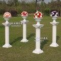 Estrada casamento chumbo conjunto de colunas 4 pçs/lote roman + roman flower pot + flor para o casamento e decoração do partido