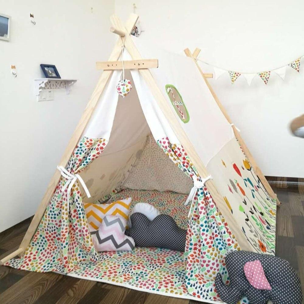 acheter carr conception avec fleur tente tipi 100 coton tissu enfants jouer. Black Bedroom Furniture Sets. Home Design Ideas