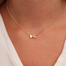 Крошечное Золотое серебряное ожерелье-чокер с первоначальным именем 26 букв и подвеска в виде сердца ожерелье для женщин колье подарок ювелирные изделия 1070