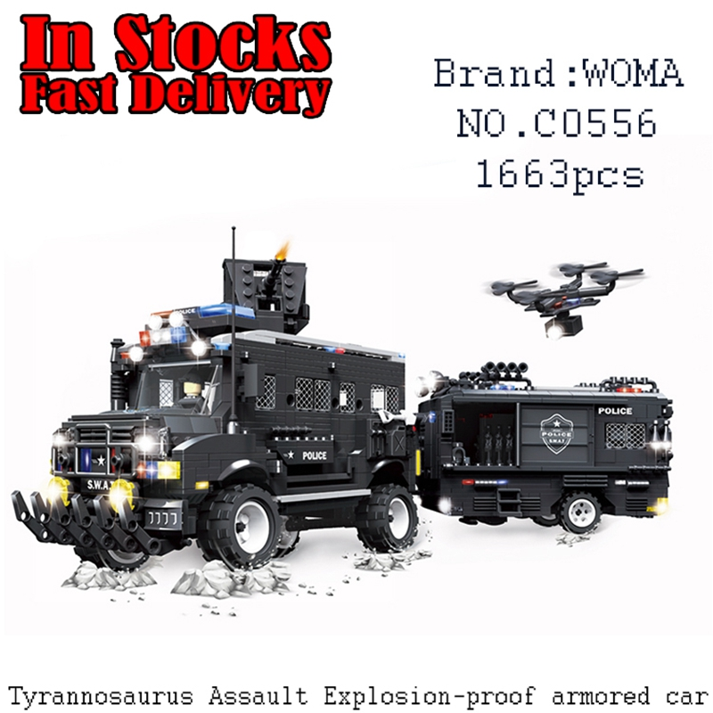 WOMA Military SWAT Clan Assault Riot Armored Vehicles C0556 1663PCS Building Block Brick educational toy for children brinquedos knl hobby voyager model pea100 m1126 stricker wheeled armored vehicles with additional fence armor metal etching sheet