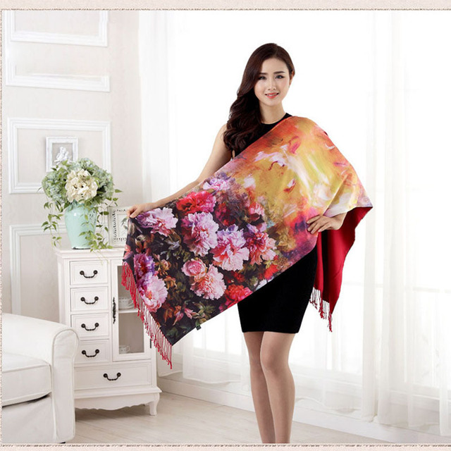 2016 New Long Floral Digital Printing Colorful Silk Women Scarf Spring Summer Echarpe Smooth Luxury Shawl Scarves Wraps Pashmina