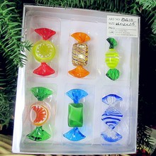 6pcs Custom Antique Hand Blown Murano Glass sweets sculpture Christmas Tree Decoration candy pendant children New Year gift set