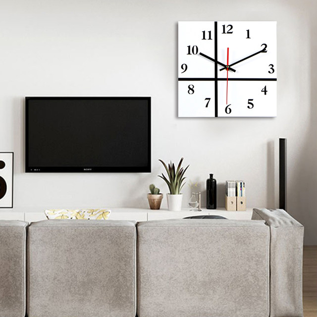 online shop new 2017 square wall clock black white clock silent home