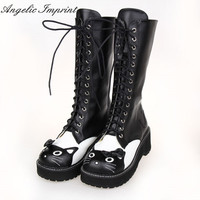 Lovely Hello Kitty Round Toe Platform Heels Sweet Princess Lolita Cosplay Lace Up Winter Boots