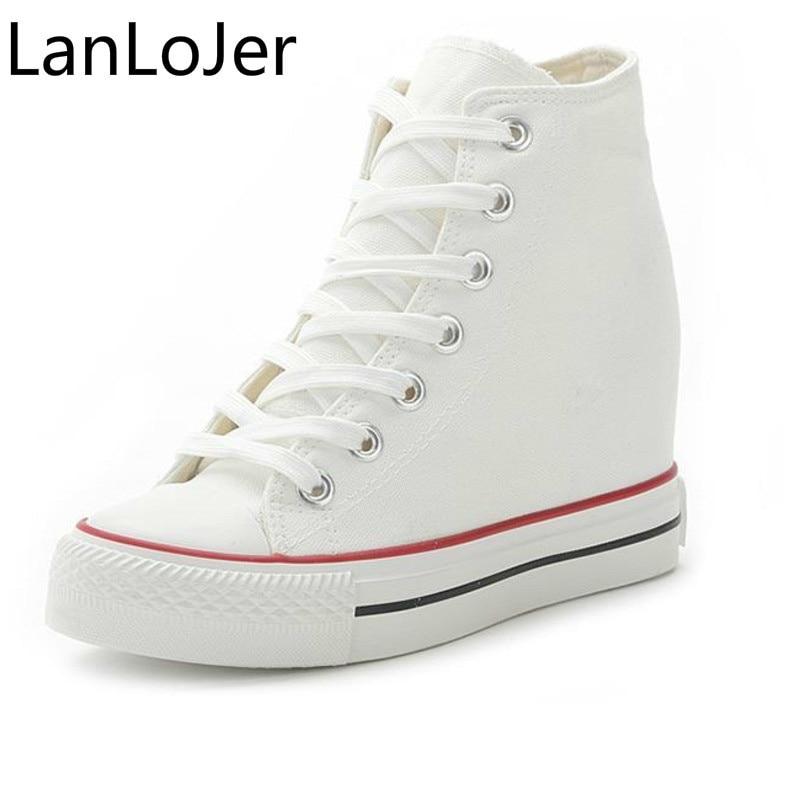 LanLoJer 8cm High Heels Shoes Casual Canvas Shoes platform Wedges High Top Ladies Hidden Wedge Heels Elevator Shoes