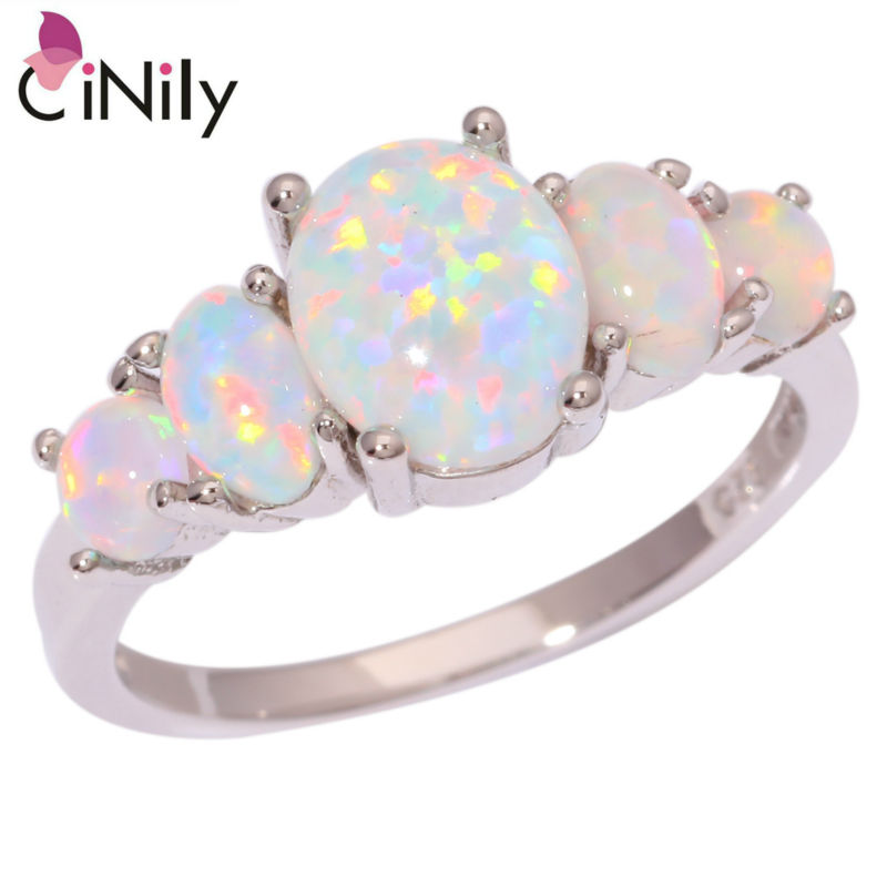 Cinily Opal-Rings Fire Size-10 Boho Jewelry Big-Stone Wedding-Engagement Silver-Plated