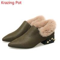 2018 Genuine Leather Original Design Thick Heels Pointed Toe Pearl Decorations Pumps Keep Warm Handmade Fur