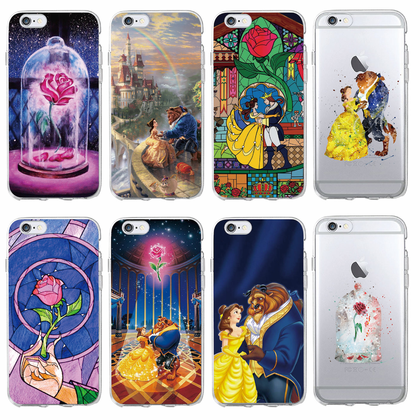Beauty Girl And Beast Rose Princess Soft Clear Phone Case