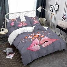 Sweet Couples Bedding Set Lips Kiss Heart Print Duvet Cover King Queen Romantic Bedclothes Pillowcase Home Decor