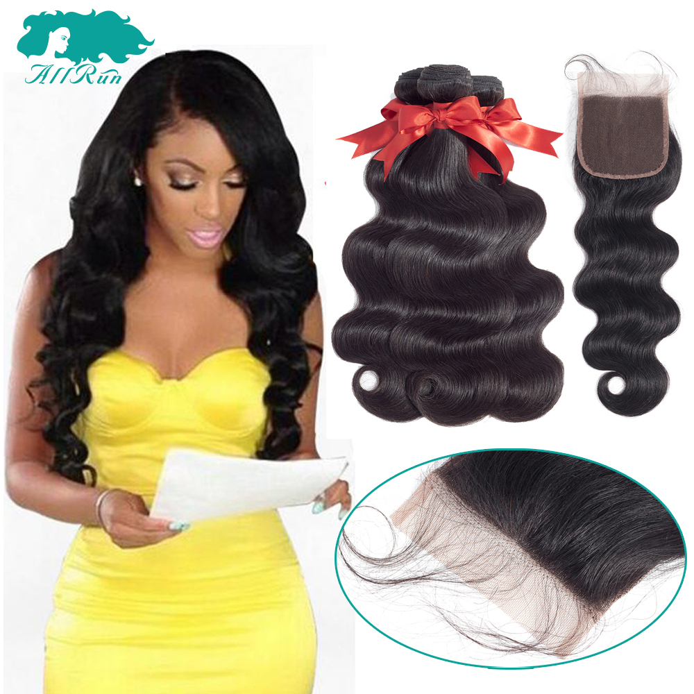 Allrun Peruvian Body Wave With Closure Peruvian Hair 3 Bundles With Lace Closure Human Hair Bundles With Closure Non Remy Hair