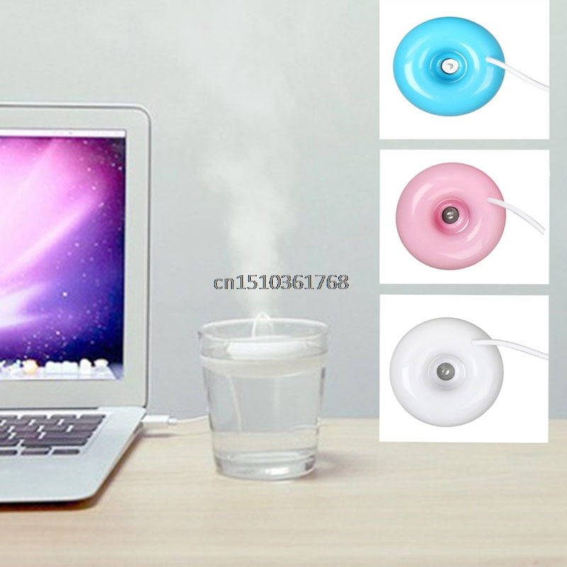 Hot Mini USB Air Humidifier Donuts Purifier Aroma Diffuser Steam For Office Home #Y05#