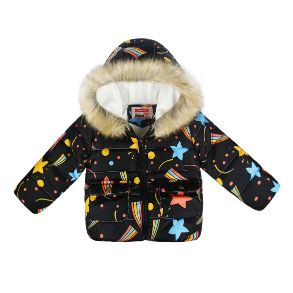Kids Winter Cartoon stars pattern Outerwear Baby Girls And Boys Zipper Jackets Funny Cotton-padded Clothes Child Fur hooded Tops