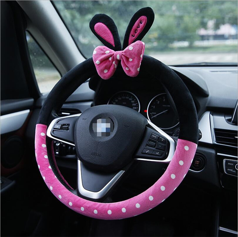 Cute Cartoon Car Steering Wheel Cover Winter Plush Mickey Panda Minion Girls Car Styling Decorations 38cm Free Shipping Steering Covers