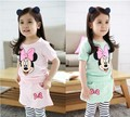 2017 Summer girls clothing sets cartoon minnie mouse children's wear cotton casual tracksuits kids clothes sports suit